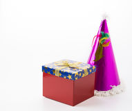 Party hat with gift box Stock Photo