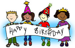 Party hat kids with banner. Large childlike cartoon characters: little kids, boys and girls, holding a very big blank banner and wearing party hats Royalty Free Stock Photo