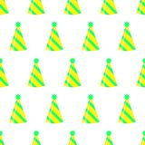 Party hat seamless pattern on white background. Birthday hat set. Vector fun decoration royalty free illustration