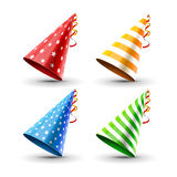 Party hat set isolated on a white. Birthday hat set. Vector fun decoration. Colorful surprise costume Stock Photography