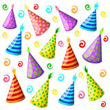 Party hat set isolated on a white. Birthday hat set. Vector fun decoration. Colorful surprise costume.  stock illustration