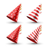 Party hat set  on a white. Birthday hat set. Vector fun decoration. Colorful surprise costume Stock Photography