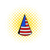 Party hat in the USA flag colors icon comics style. Party hat in the USA flag colors icon in comics style on a white background Royalty Free Stock Images