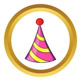 Party hat vector icon, cartoon style. Party hat vector icon in golden circle, cartoon style isolated on white background Stock Image