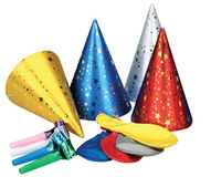 Party hat and whistle. On WHITE background Royalty Free Stock Image