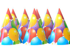 Party hats. Group of party hats isolated on white with copy space Royalty Free Stock Photo