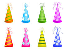 Party hats. Eight party hats design on white royalty free illustration