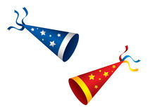 Party Hats. 2 party hats with stars and ribbons Royalty Free Stock Photography