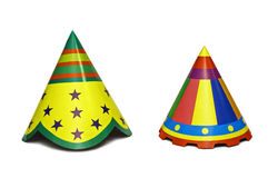 Party Hats. Colourful party hats isolated on white background stock images