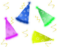 Party Hats. And streamers Royalty Free Stock Photos