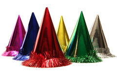 Party hats. Isolated birthday party hats in festive colors royalty free stock image