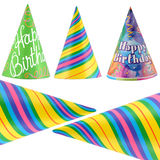 Party hats. Colorful party hats isolated on white background stock images