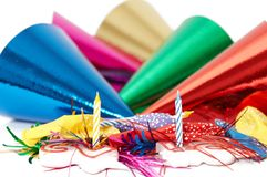 Party hats background. Candles on party hats background stock images