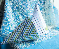 Party hats on the beautiful lace background.  royalty free stock photo