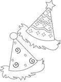 Party hats coloring page. Useful as coloring book for kids stock illustration