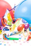 Party hats, horns or whistles, confettis Royalty Free Stock Images