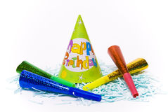 Party hats and paper horns Royalty Free Stock Image