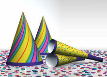 Party Hats, Party Horns (blowers) And Confetti Royalty Free Stock Photos