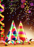 Party Hats and Streamers on Abstract Background Stock Image