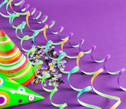 Party hats and streamers Royalty Free Stock Images