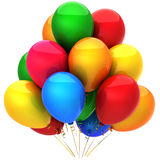 Party helium balloons. Holiday concept (Hi-Res). Multicolor helium balloons. Positive emotions concept. This is a detailed 3D render (Hi-Res). Isolated on white stock illustration