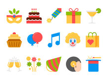 Party, holiday, birthday vector flat icons set.  Royalty Free Stock Photography