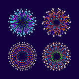 Party and holiday event firework icon flat set isolated vector. Illustration Royalty Free Stock Photos