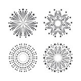Party and holiday event firework icon flat set  vector Royalty Free Stock Images