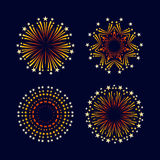 Party and holiday event firework icon flat set  vector Royalty Free Stock Photography