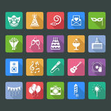 Party and holiday icon. Set of flat vector icons of party and birthday Royalty Free Stock Photography