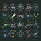 Party and holiday icon. Set of outline vector icons of party and birthday Stock Photography