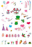 Party and holiday icon set ser. Vector illustration with many things for celebration and holidays Royalty Free Stock Photos