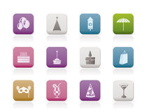 Party and holidays icons. Icon set Stock Images
