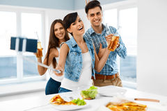 Party Home. Friends Taking Selfie, Celebrating Holiday. Friendsh Royalty Free Stock Photo