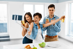 Party Home. Friends Taking Selfie, Celebrating Holiday. Friendsh Stock Photo