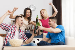 Party at home. Party home after winning their favorite soccer team stock image