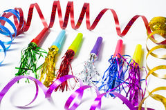 Party Horn Blower with colored streamers Royalty Free Stock Photography