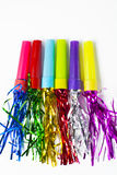 Party Horn Blower with colored streamers Stock Photos