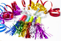 Party Horn Blower with colored streamers Stock Image