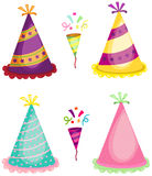 Party horn blower and colorful hats Stock Images