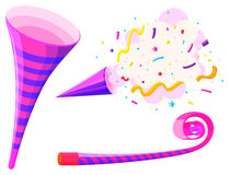 Party horn and musical straw Stock Photos