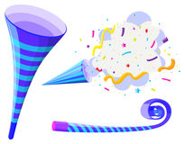 Party horn and pop up cone Stock Images