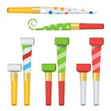Party Horn Set Vector. Color Penny Whistle. Top View.  On White Illustration Royalty Free Stock Photos