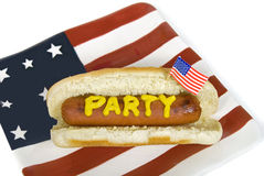 Party hot dog on American flag plate Royalty Free Stock Images