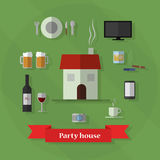 Party house set Stock Photography
