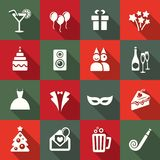 Party icon set. Flat design Stock Photography
