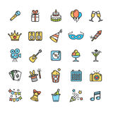 Party Icon Thin Line Set. Vector. Party Icon Thin Line Color Set Pixel Perfect Art. Material Design. Vector illustration Royalty Free Stock Photography