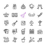 Party Icon Thin Line Set. Vector stock illustration