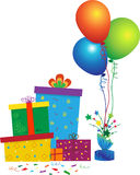 Party Icon. Vector illustration of gift boxes, balloons and confetti. Eps10 stock illustration