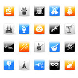 Party icons. Set of 20 glossy colorful party icons vector illustration